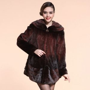 Fashion Casual Long Style With Turndown Collar Mink Fur Coat