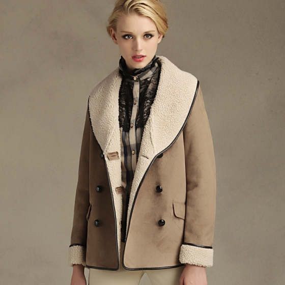 Slim Fit Turndown Collar Double Breasted Suede Coat
